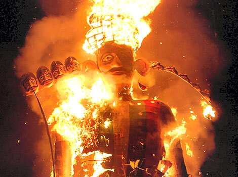 Ravana effigy up in flames during Dussehra celebrations at Dussehra Maidan in Bhopal, on Sunday, October 21, 2007.