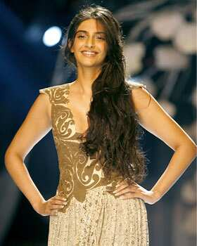 Sonam Kapoor in a a creation by designer Anamika Khanna on the fourth day of the India Couture Week in Mumbai. Truly Stylish: Sonam Kapoor