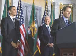 New Treasury Secretary: President Barack Obama, and VP Joe Biden, listen to Treasury Secretary Timothy Geithner speak after Biden swore him at the Treasury Department. January 27: Business