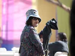 A guest soaks in the sun at the Jaipur Literature Festival. Jaipur Literature Festival Day 1