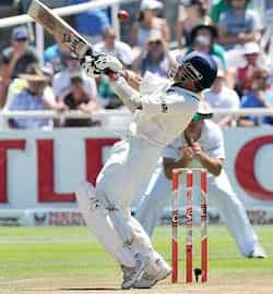Sachin Tendulkar swings at a wide ball during the third day of the third Test match between India and South Africa at the Newlands Stadium in Cape Town. Sachin 51st Test ton