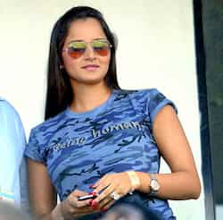 Tennis star Sania Mirza watches the first India vs England ODI cricket match at the Rajiv Gandhi International Cricket Stadium Uppal in Hyderabad. 1st ODI: India trounce England