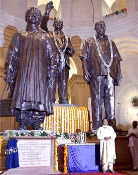 Uttar Pradesh chief minister Mayawati (bottom right) stands near statues of herself (L) Bhimrao Ramji Ambedkar (C) and Bahujan Samaj Party leader Kansi Ram in a hall at a newly inaugurated park in Noida. (Photo: AP Photo) Maya