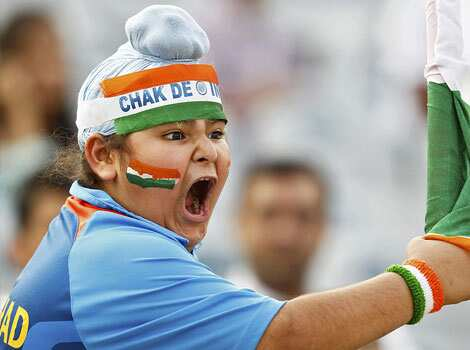 An India fan reacts during the third one-day international cricket match between India and England in Mohali. 3rd ODI: India beat England
