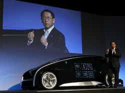 President and CEO of Toyota Motor Corporation Akio Toyoda speaks during a presentation of its concept vehicle Fun-Vii at a pre-Tokyo Motor show reception at a showroom in Tokyo. Reuters/Kim Kyung-Hoon Next-gen concept vehicles