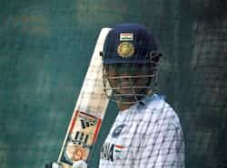 Sachin Tendulkar bats at the nets during a practice session in New Delhi. All set for the