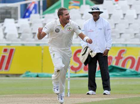 Australian cricketer Ryan Harris celebrates after taking the wicket of unseen South African cricketer Jacques Rudolph, for 18 runs on day 2 of the 1st Test between Australia and South Africa at Newlands Stadium in Cape Town. Down Under, literally