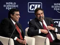 Mukesh Ambani, chairman and MD of Reliance Industries and Anand Sharma, minister of commerce and industry during the India Economic Summit in Mumbai. India Economic Summit