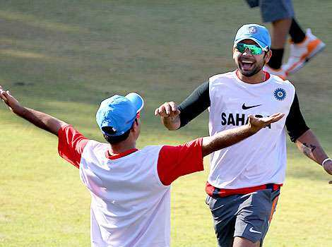 Virat Kohli is seen during a training session ahead of the ICC Cricket World Cup in Bangalore. Starting the campaign
