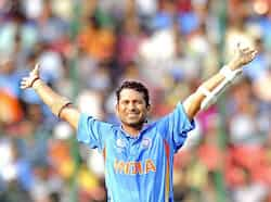 Sachin Tendulkar reacts during the Cricket World Cup 2011 match between England and India at the M Chinnaswamy Stadium in Bangalore. Master Blaster