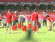 <P>Indian cricketers are sweating it out at the nets at M. Chinnaswamy stadium in Bangalore ahead of its clash with Ireland. Ace batsmen Sachin Tendulkar, Virat Kohli and opener Gautam Gambhir practiced hitting some good sweeps while batting practicing. Bowlers of the squad, including Yusuf Pathan and Munaf Patel, were seen giving a hard time to teams batsmen during the practice session. The cricketers were also seen engaging in stretching practice and playing a light game of football.</P>