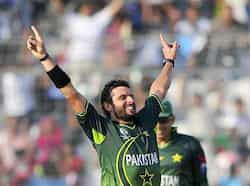Pakistan captain Shahid Afridi celebrates after dismissing West Indies batsman Kieron Pollard during the Cricket World Cup quarter-final against the Pakistan at the Sher-e Bangla National Stadium in Dhaka. QF: Pakistan vs West Indies