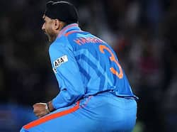 Harbhajan Singh celebrate after the wicket of  AB de Villers of South Africa during the ICC Cricket World Cup 2011 match. India vs SA
