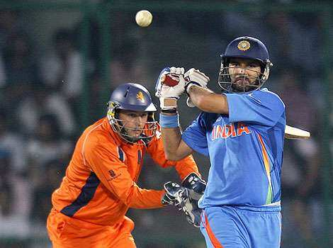 Yuvraj Singh plays a shot during a Cricket World Cup match between India and Netherlands in New Delhi. India v Netherlands