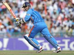 Virender Sehwag plays a shot during the ICC Cricket World Cup semi-final match between India and Pakistan at The Punjab Cricket Associaton (PCA) Stadium in Mohali. India beat Pak to enter WC final