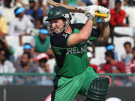 Ireland batsman Gary Wilson in action against West Indies during their ICC World Cup match at PCA stadium in Mohali. Windies beat Ireland