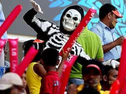 Sri Lankan fans cheer their team during the ICC Cricket World Cup 2011 match between Sri Lanka and Zimbabwe at Pallekele International Cricket Stadium in Pallekele, Sri Lanka. Zimbabwe vs Sri Lanka