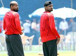 Indian players Yusuf Pathan and Harbhajan Singh during team practice session prior to their World Cup final match against Sri Lanka in Mumbai. WC: The final countdown