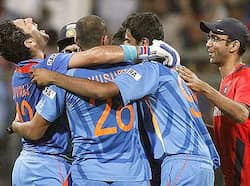 Man of the Tournament Yuvraj Singh (L) celebrates with team members after winning the Cricket World Cup final match against Sri Lanka in Mumbai. That winning moment