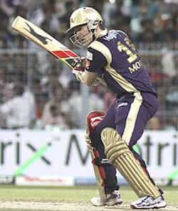 Kolkata Knight Riders batsman Eoin Morgan plays a shot during the IPL Twenty20 cricket match between Kolkata Knight Riders and Kings XI Punjab at The Eden Garden Stadium in Kolkata. Knights trounce Kings