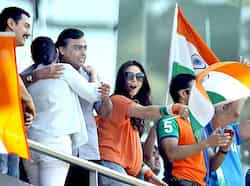 Actor Priety Zinta, industrialist Mukesh Ambani, film director Kiran Rao, actor Aamir Khan cheer during the India vs Sri Lanka ICC World Cup final match in Mumbai. Bigwigs at the finals