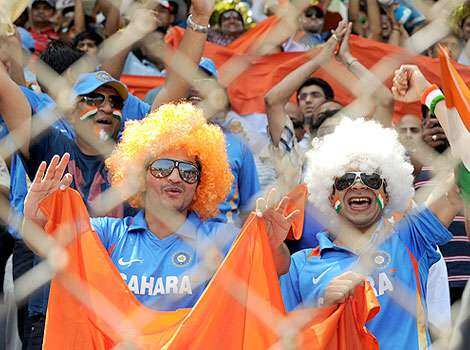 Indian cricket fans cheers prior to the ICC Cricket world Cup final match between India and Sri Lanka at the Wankhede Stadium in Mumbai. Fans finale