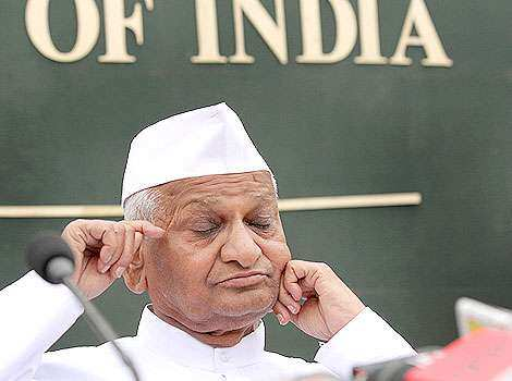 Social activist Anna Hazare addresses a press conference at Press Club in New Delhi. Many moods of Anna