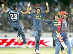 Deccan Chargers Ishant Sharma celebrates the wicket of Venugopal Rao during the match between Deccan Chargers vs Delhi Daredevils at Rajiv Gandhi Stadium in Hyderabad. Delhi beat Chargers