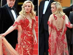 Rachel McAdams looked stunning in a red sheer gown with nude base but she found it hard to manage the 5 feet long train. Butt show at Cannes 2011