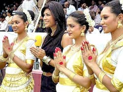 TV artist Archana with Cheergirls of Pune Warriors during the IPL-4 cricket match between Pune Warriors and Deccan Chargers in Hyderabad. Life of a cheerleader