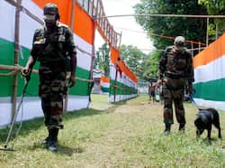 Personals of Bomb disposal Squad of Indian Army inspecting the Latasil Playground, the venue for the 65th Independence Day Celebrations, in Guwahati. Watertight security