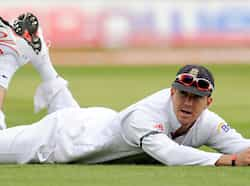 Kevin Pietersen looks on after a ball was hit past him during the third cricket Test match against India at Edgbaston cricket ground in Birmingham, England. Edgbaston Test, Day 1