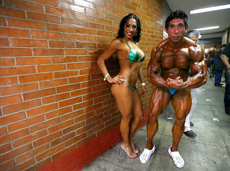 Contestants pose for pictures backstage during the Mr Mexico bodybuilding contest in Mexico City, Muscle tussle!