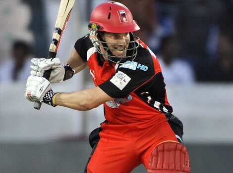 South Australia batsman Michael Klinger plays a shot against Warriors during the Champions League Twenty20 cricket match in Hyderabad. Warrior beats South Australia