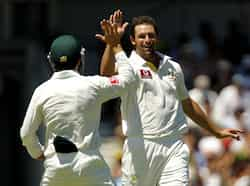 Ben Hilfenhaus celebrates after taking the wicket of Virender Sehwag during the third cricket test at the WACA in Perth. Reuters 3rd Test: India vs Australia