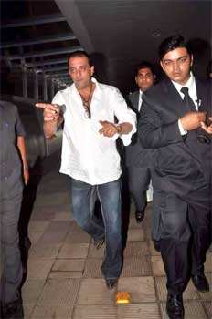 Sanju baba chose to wear a white shirt and blue jeans for the do. B-Town at Riteish-Genelia