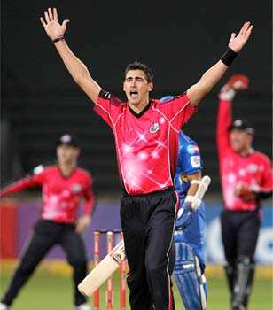 Mitchell Starc of the Sydney Sixers appeals during a Champions League T20 (CLT20) match Sydney Sixers vs Mumbai Indians at Sahara Stadium Kingsmead in Durban. AFP Photo Sydney Sixers vs Mumbai Indians