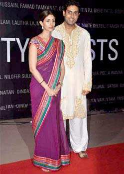 Abhishek Bachchan along with sister Shweta Nanda at the art exhibition. B-Seventy art show which was inaugurated by Kokilabein Ambani at Nehru Centre. We Are Family: Bachchans at B-Seventy exhibition
