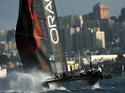 Oracle Team USA Coutts competes in a fleet race during the America