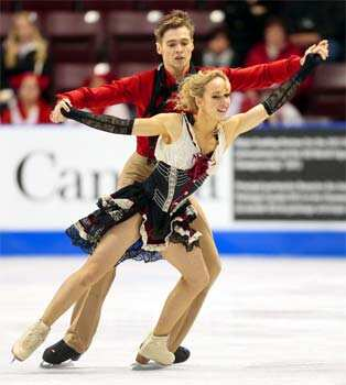 Pernelle Carron and Lloyd Jones of France prform their short program in the dance competition at the 2012 Skate Canada International ISU Grand Prix event in Windsor, Ontario. AFP/Geoff Robins Dancing on ice