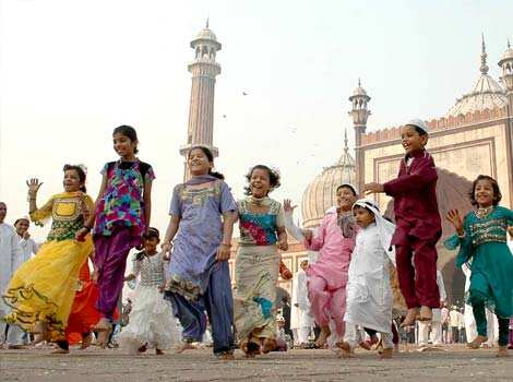 Children enjoying themselves after Eid al-Adha prayers at the Jama Masjid in Delhi. Agencies Eid Mubarak!