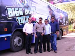 (L-R) Managing Director Bollywood Tourism Manoj Gursahani, Salman Khan, Managing Director Endemol India Deepak Dhar and CEO COLORS Raj Nayak Salman Khan flags off Bigg Boss Bus