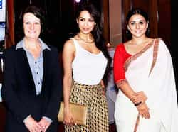 Vidya and Malaika pose at the event. Vidya Balan, Malaika Arora bond at a press conference