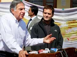 Congress leader Rahul Gandhi and industrialist Ratan Tata interact with the media during a visit to Kashmir University in Srinagar. PTI Photo Rahul