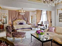 One of the four bedrooms of the Royal Suite Expensive hotel suite in Paris
