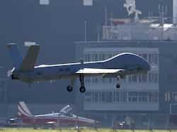 The Israeli Elbit Systems Ltd. Hermes 900 unmanned aerial vehicle (UAV) flies low over the airbase during a media presentation in the central Swiss town of Emmen. Reuters/Pascal Lauener Here comes Hermes 900!