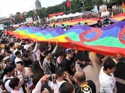 Participants take part in the gay parade in Taipei. AFP Photo/Mandy Cheng Gay pride parade in Taiwan