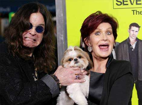 Ozzy Osbourne and Sharon Osbourne pose with Bonny the dog at the premiere of Seven Psychopaths at the Bruin Theatre in Los Angeles. AP Photo Oct 2: day in pics