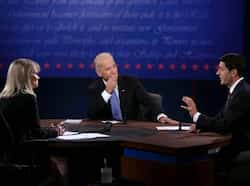 Joe Biden and Paul Ryan participate in the vice presidential debate as moderator Martha Raddatz looks on at Centre College in Danville, Kentucky. AFP Photo US vice presidential debate