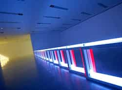 "Fluorescent tube artwork creations by US artist Dan Flavin are seen as part of the ""Dan Flavin Lights"" exhibition at the Mumok Museum of Modern Art in Vienna. AFP photo/Alexander Klein Dan Flavin lights up world of art"